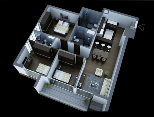 Layout 3 bedroom apartments in Lancaster Hanoi